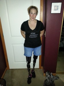 Dawn in her newest legs (and you can see by her shirt, she has an awesome sense of humor!)