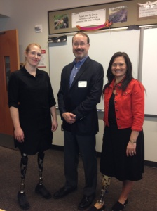 "Dawn and I with our Prosthetist Rich.  He was speaking at a Career Day and we got to be his ""show and Tell"""
